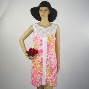 Lilly Pulitzer Hot Pink Shift Dress Size 6 Orange